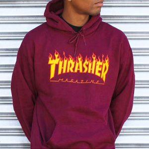 Thrasher Flame Logo Hood Maroon