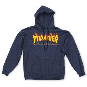 Thrasher Flame Logo Hood Navy