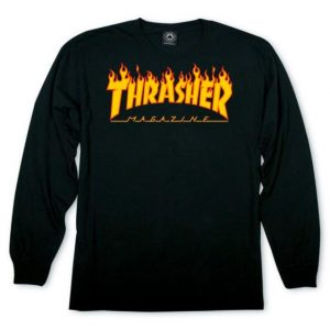Thrasher Flame Logo Long Sleeve Black