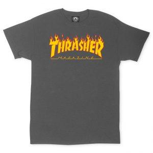 Thrasher Flame Logo T-Shirt Charcoal