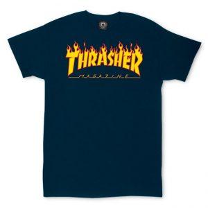 Thrasher Flame Logo T-Shirt Navy